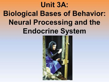 Unit 3A: Biological Bases of Behavior: Neural Processing and the Endocrine System.