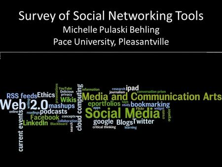 Survey of Social Networking Tools Michelle Pulaski Behling Pace University, Pleasantville.