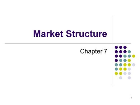 1 Market Structure Chapter 7. 2 Competitive Markets Forces of supply/demand promote competition 2 basic types of competitive markets: Perfect Monopolistic.