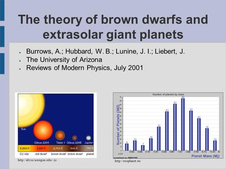 The theory of brown dwarfs and extrasolar giant planets ● Burrows, A.; Hubbard, W. B.; Lunine, J. I.; Liebert, J. ● The University of Arizona ● Reviews.