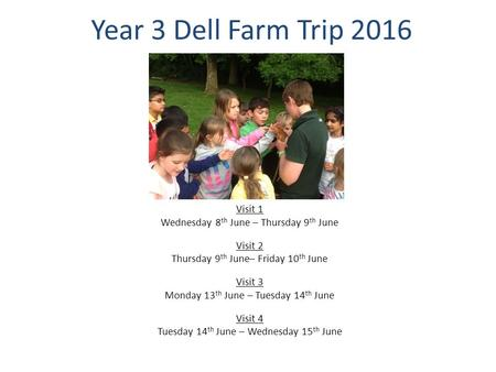 Year 3 Dell Farm Trip 2016 Visit 1 Wednesday 8 th June – Thursday 9 th June Visit 2 Thursday 9 th June– Friday 10 th June Visit 3 Monday 13 th June – Tuesday.