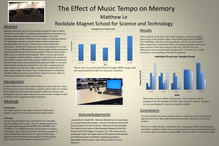 The Effect of Music Tempo on Memory Matthew Le Rockdale Magnet School for Science and Technology Students commonly listen to music while studying for tests.