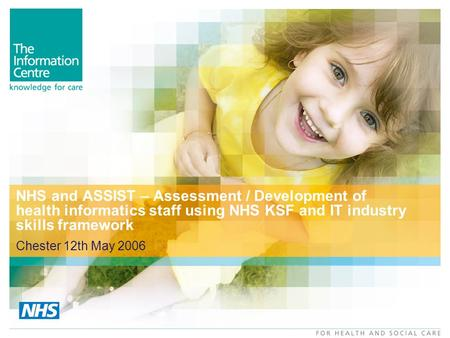 NHS and ASSIST – Assessment / Development of health informatics staff using NHS KSF and IT industry skills framework Chester 12th May 2006.