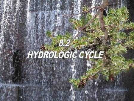 1. 2 The process of moving water out of the oceans and back to the land is called the hydrologic cycle. evaporation precipitation Run-off transpiration.
