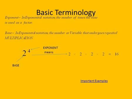 Basic Terminology BASE EXPONENT means Important Examples.