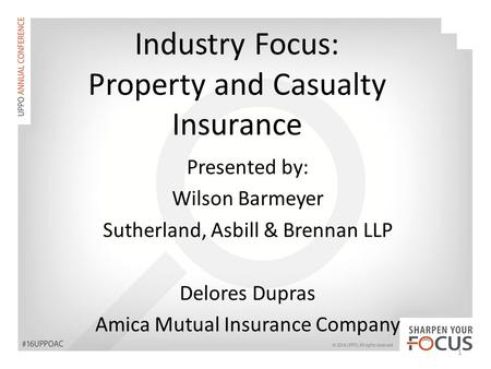 Industry Focus: Property and Casualty Insurance Presented by: Wilson Barmeyer Sutherland, Asbill & Brennan LLP Delores Dupras Amica Mutual Insurance Company.