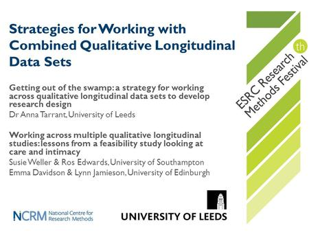 Strategies for Working with Combined Qualitative Longitudinal Data Sets Getting out of the swamp: a strategy for working across qualitative longitudinal.