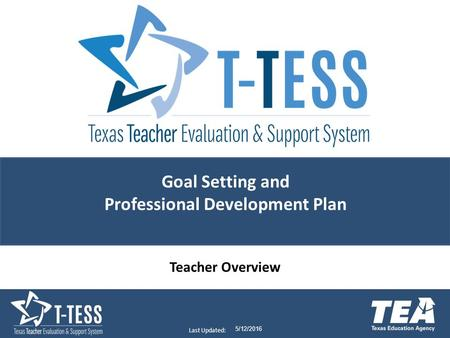 Last Updated: 5/12/2016 Goal Setting and Professional Development Plan Teacher Overview.