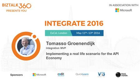 Tomasso Groenendijk Integration MVP Implementing a real life scenario for the API Economy.