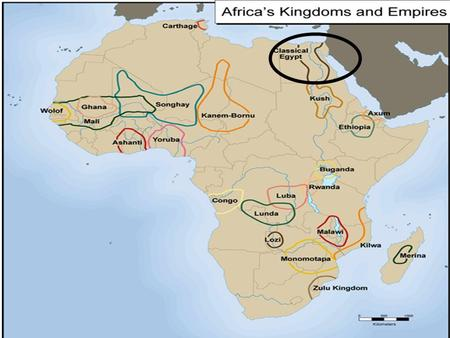 ANCIENT AFRICA 3200BC-500BC 5000yrs ago Farming civs grow along Nile River. To control flooding built: dikes, reservoirs and irrigation ditches. 3100BC.