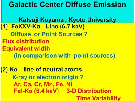 Galactic Center Diffuse Emission Katsuji Koyama, Kyoto University (1) FeXXV-Kα Line (6.7 keV) Diffuse or Point Sources ? Flux distribution Equivalent width.