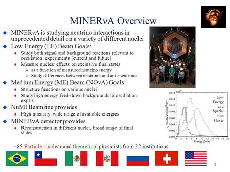 MINERνA Overview  MINERνA is studying neutrino interactions in unprecedented detail on a variety of different nuclei  Low Energy (LE) Beam Goals: t Study.