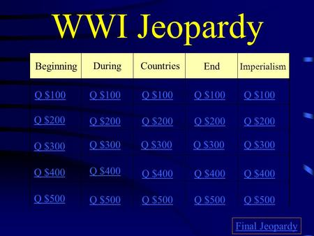 WWI Jeopardy Beginning DuringCountries End Imperialism Q $100 Q $200 Q $300 Q $400 Q $500 Q $100 Q $200 Q $300 Q $400 Q $500 Final Jeopardy.