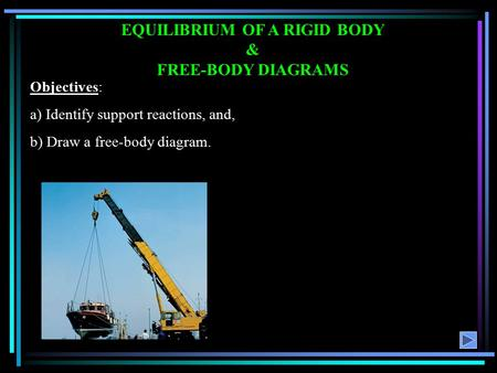 EQUILIBRIUM OF A RIGID BODY & FREE-BODY DIAGRAMS Objectives: a) Identify support reactions, and, b) Draw a free-body diagram.