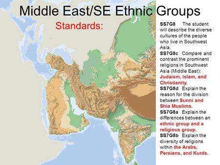 Middle East/SE Ethnic Groups Standards: SS7G8 The student will describe the diverse cultures of the people who live in Southwest Asia. SS7G8c Compare and.