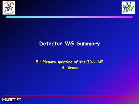 Detector WG Summary 5 th Plenary meeting of the IDS-NF A. Bross.
