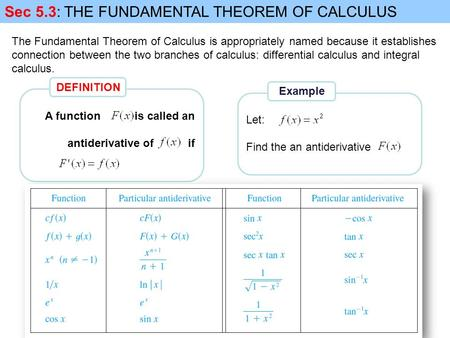 The Fundamental Theorem of Calculus is appropriately named because it establishes connection between the two branches of calculus: differential calculus.