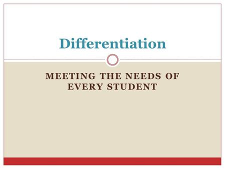 MEETING THE NEEDS OF EVERY STUDENT Differentiation.