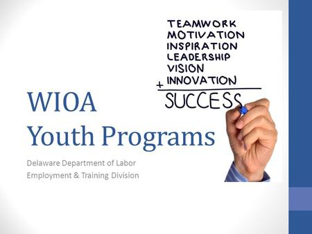 WIOA Youth Programs Delaware Department of Labor Employment & Training Division.