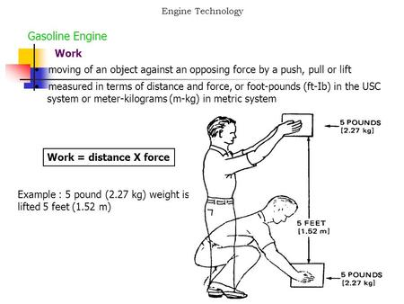 Engine Technology Gasoline Engine Work moving of an object against an opposing force by a push, pull or lift measured in terms of distance and force, or.