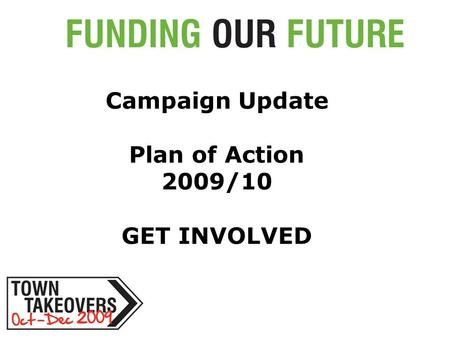 Campaign Update Plan of Action 2009/10 GET INVOLVED.
