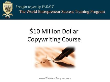 $10 Million Dollar Copywriting Course