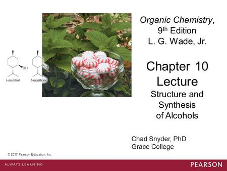 © 2014 Pearson Education, Inc. Chad Snyder, PhD Grace College Chapter 10 Lecture Organic Chemistry, 9 th Edition L. G. Wade, Jr. Structure and Synthesis.