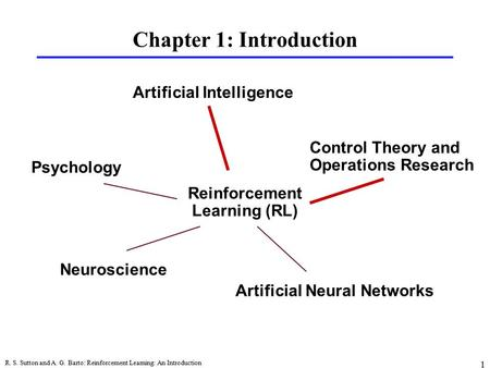 R. S. Sutton and A. G. Barto: Reinforcement Learning: An Introduction 1 Chapter 1: Introduction Psychology Artificial Intelligence Control Theory and Operations.