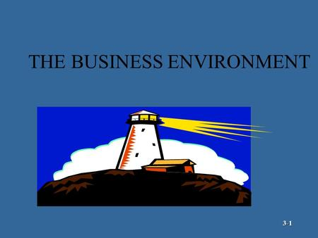 THE BUSINESS ENVIRONMENT 3-1 The External Environment Customers Competitors Suppliers Public Pressure Groups The Organization General Environment Specific.