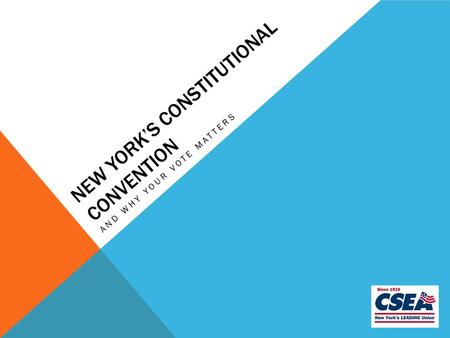 NEW YORK'S CONSTITUTIONAL CONVENTION AND WHY YOUR VOTE MATTERS.
