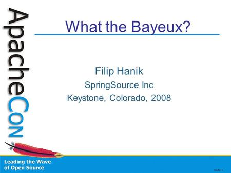 Slide 1 What the Bayeux? Filip Hanik SpringSource Inc Keystone, Colorado, 2008.