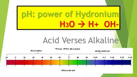 PH: power of Hydronium H 3 O  H+ OH- Acid Verses Alkaline.