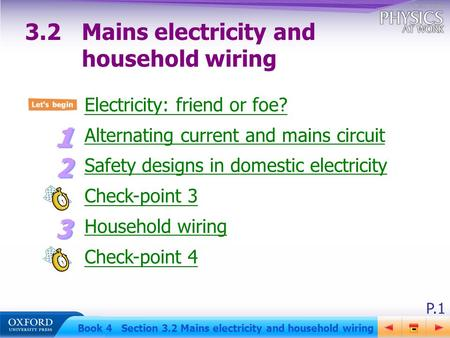 P.1 Book 4 Section 3.2 Mains electricity and household wiring Electricity: friend or foe? Alternating current and mains circuit Safety designs in domestic.