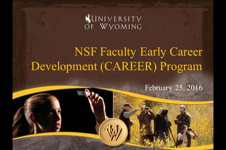NSF Faculty Early Career Development (CAREER) Program February 25, 2016.