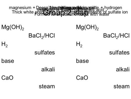 Group 2 slap Mg(OH) 2 BaCl 2 /HCl H 2 sulfates base alkali CaO steam Mg(OH) 2 BaCl 2 /HCl H 2 sulfates base alkali CaO steam magnesium + _________  magnesium.