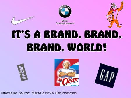 IT'S A BRAND, BRAND, BRAND, WORLD! Information Source: Mark-Ed WWW Site Promotion.
