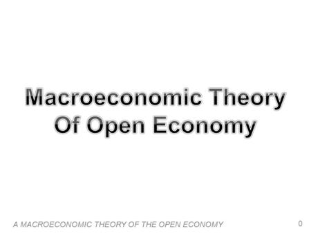A MACROECONOMIC THEORY OF THE OPEN ECONOMY 0. 1 Introduction  The previous chapter explained the basic concepts and vocabulary of the open economy: net.