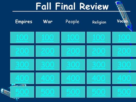 Fall Final Review EmpiresWarPeople 100 200 300 400 500 100 200 300 400 500 100 200 300 400 500 100 200 300 400 500 100 200 300 400 500 Vocab Religion.