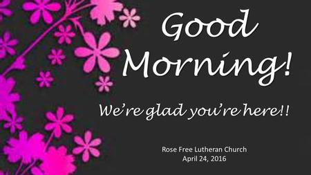 Good Morning! Rose Free Lutheran Church April 24, 2016 We're glad you're here!!
