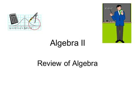 Algebra II Review of Algebra. Real Numbers and Number Operations (1.1) Real numbers can be pictured as points on the real number line. {.. -2 -1 0 1 2..}