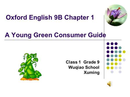 Oxford English 9B Chapter 1 A Young Green Consumer Guide Class 1 Grade 9 Wuqiao School Xuming.