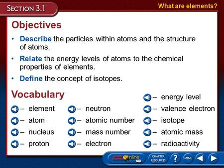 Objectives Describe the particles within atoms and the structure of atoms. What are elements? Relate the energy levels of atoms to the chemical properties.