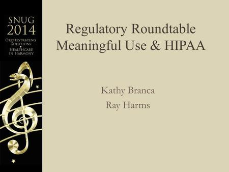 Regulatory Roundtable Meaningful Use & HIPAA Kathy Branca Ray Harms.