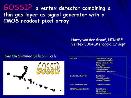 GOSSIP : a vertex detector combining a thin gas layer as signal generator with a CMOS readout pixel array NIKHEFAuke-Pieter Colijn Alessandro Fornaini.