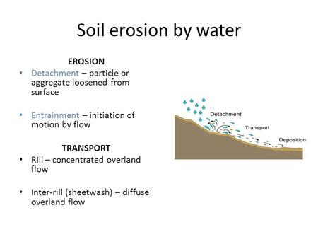 Soil erosion by water EROSION Detachment – particle or aggregate loosened from surface Entrainment – initiation of motion by flow TRANSPORT Rill – concentrated.