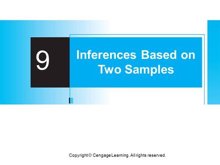 Copyright © Cengage Learning. All rights reserved. 9 Inferences Based on Two Samples.