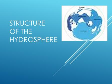 STRUCTURE OF THE HYDROSPHERE. WHERE IS WATER LOCATED?  75% of Earth is covered in Water  25% of Earth is land.