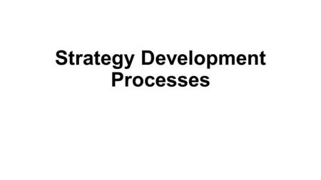 Strategy Development Processes. Learning Outcomes (1) Explain what is meant by intended and emergent strategy development Identify intended process strategy.