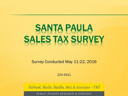 Survey Conducted May 11-22, 2016 220-4511. 1 Methodology Telephone survey (landline and cell phones) of a random sample of 295 voters registered to vote.