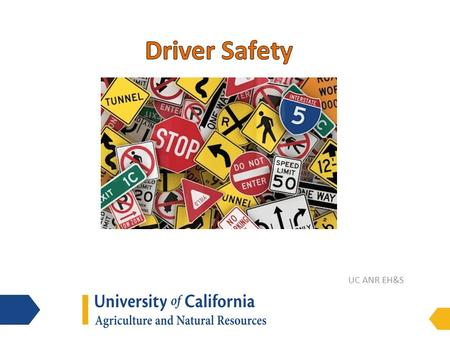 UC ANR EH&S. (Un)Safe Driving Statistics Driving may be the most dangerous thing we do each day o injured in vehicle every 18 seconds o 40,000+ die/yr.